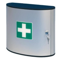 Nástěnná hliníková lékárnička uzamykatelná s otočnými přihrádkami