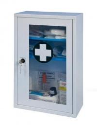 Nástěnná kovová lékárnička uzamykatelná s plexisklem