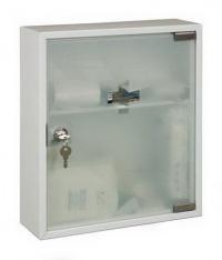 Nástěnná kovová lékárnička uzamykatelná s mléčným sklem - kovová