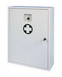 Nástěnná kovová lékárnička uzamykatelná s okénkem na náhradní klíče